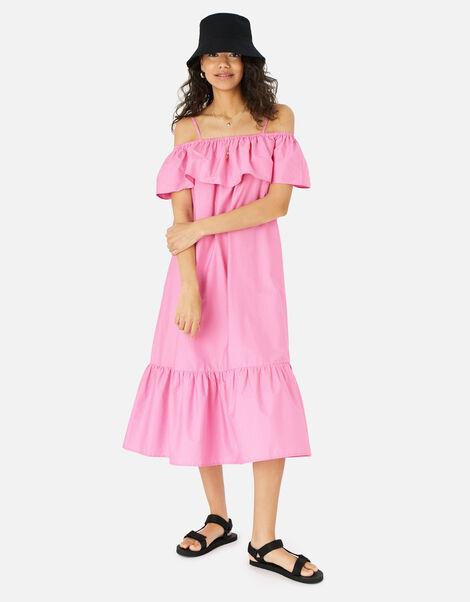 Bardot Poplin Maxi Dress Pink, Pink (PINK), large