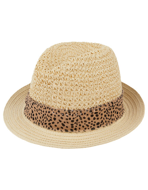 Animal Trim Trilby Hat, Leopard (LEOPARD), large