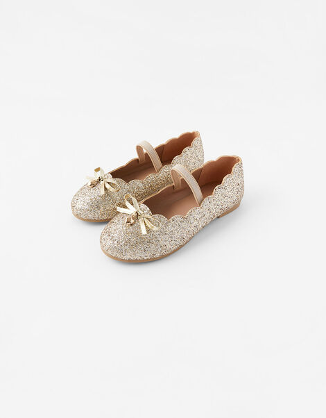 Scalloped Ballerina Flats Gold, Gold (GOLD), large