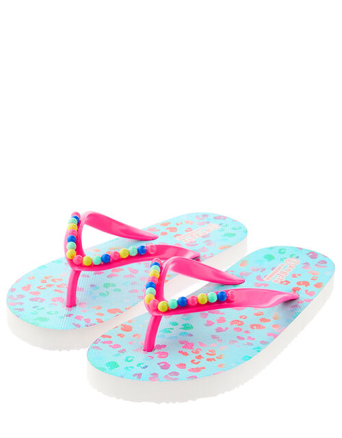 Ombre Leopard Print Beaded Flip Flops, Multi (BRIGHTS-MULTI), large