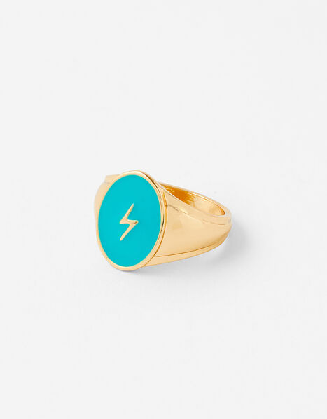 Lightning Bolt Signet Ring Gold, Gold (GOLD), large