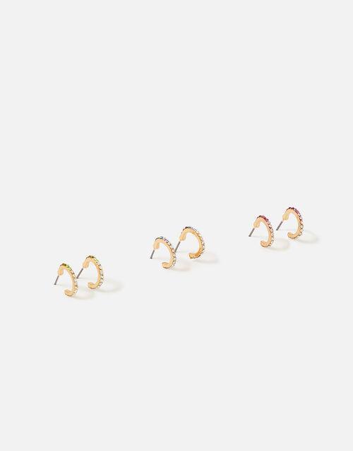Island Vibes Ombre Crystal Huggie Hoop Set, , large