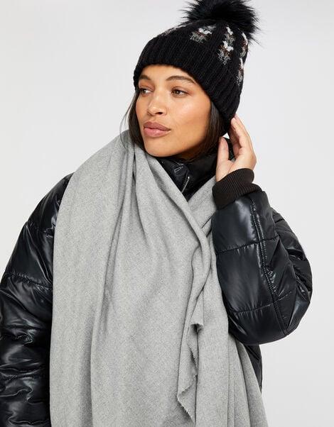 Wells Supersoft Blanket Scarf Grey, , large