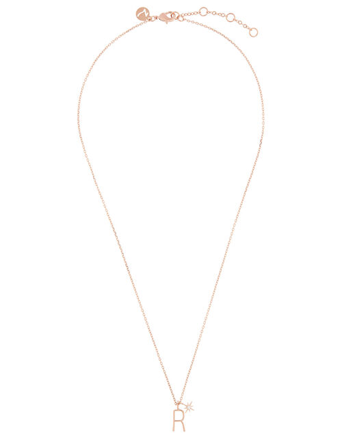 Rose Gold-Plated Initial Star Necklace - R, , large