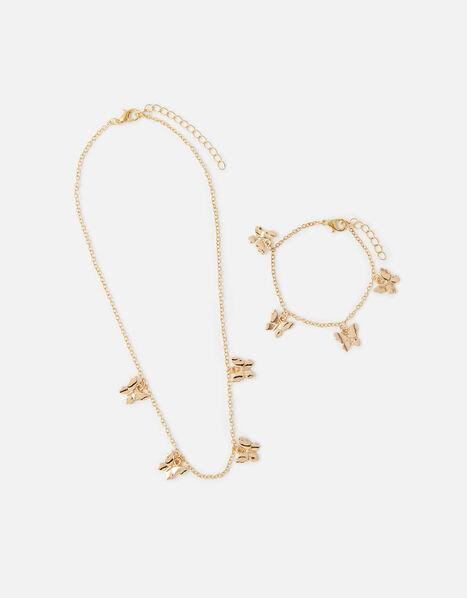 Butterfly Charm Necklace and Bracelet Set, , large