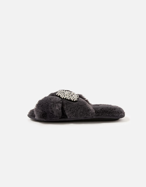 Beaded Fluffy Cross-Over Slippers, Grey (GREY), large