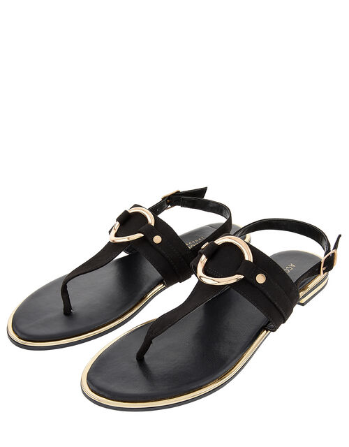 Ring Detail Sandals, Black (BLACK), large