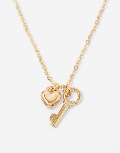 Heart and Key Pendant Necklace, , large