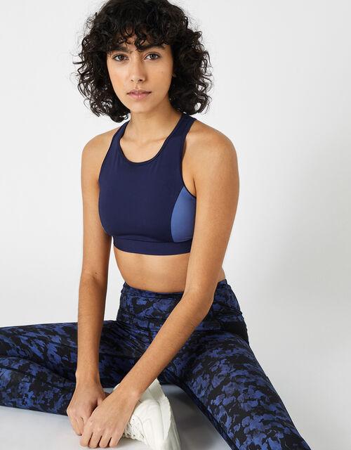 Colour-Block Sports Bra, Blue (NAVY), large