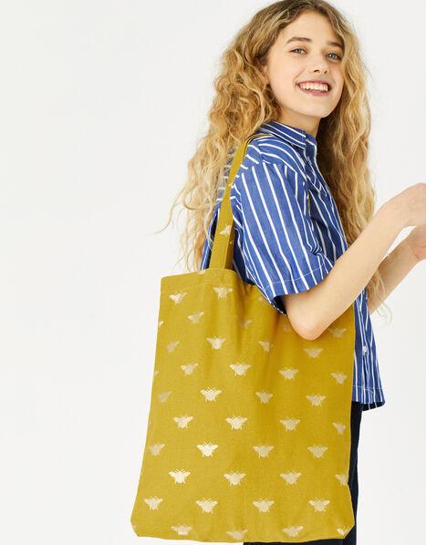 Novelty Foil Print Shopper Bag Yellow, Yellow (YELLOW), large