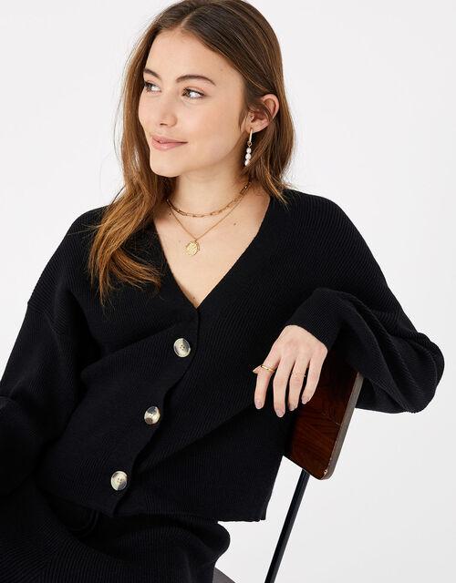 Ribbed Lounge Cardigan, Black (BLACK), large