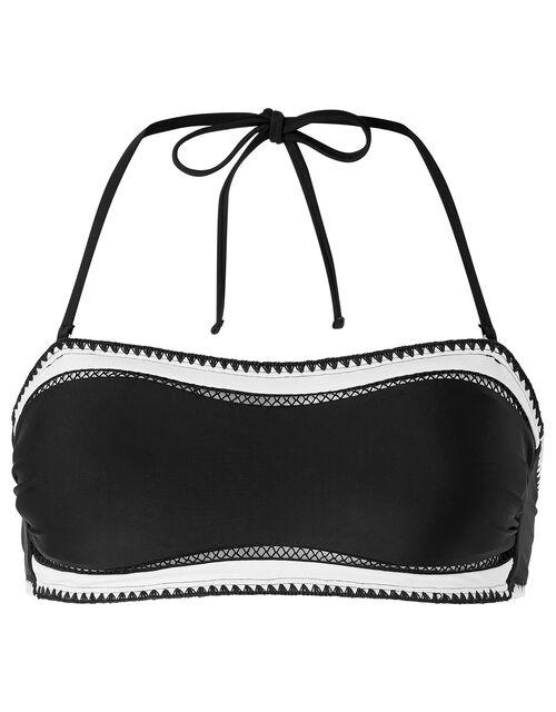 Lukshana Bandeau Bikini Top, Black (BLACK/WHITE), large