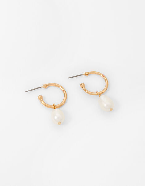 Freshwater Pearl Hoop Earrings, , large