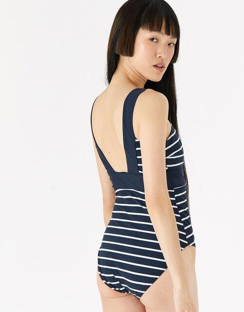 Lexi Striped Plunge Shaping Swimsuit, Blue (NAVY), large