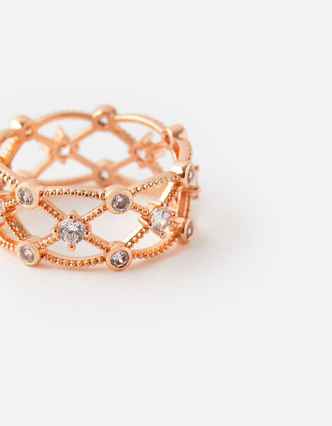 Rose Gold-Plated Sparkle Cut-Out Ring Gold, Gold (ROSE GOLD), large