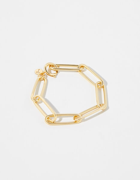 Gold-Plated Long Link Chain Bracelet, , large