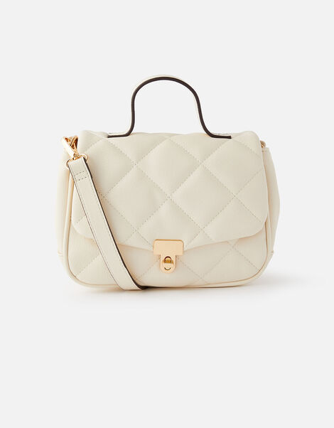 Alani Quilted Cross-Body Bag Cream, Cream (CREAM), large
