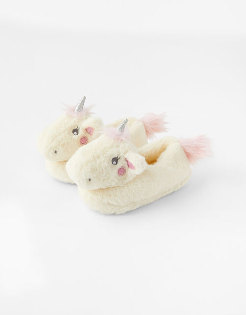 Girls Sparkle Unicorn Fluffy Slippers, Multi (BRIGHTS-MULTI), large