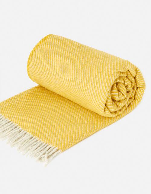 Tweedmill Tassel Throw in Pure Wool, Yellow (YELLOW), large