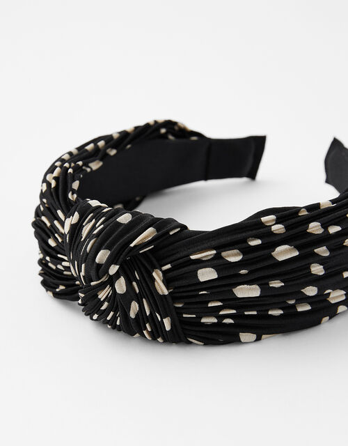 Pleated Spot Knot Headband, , large