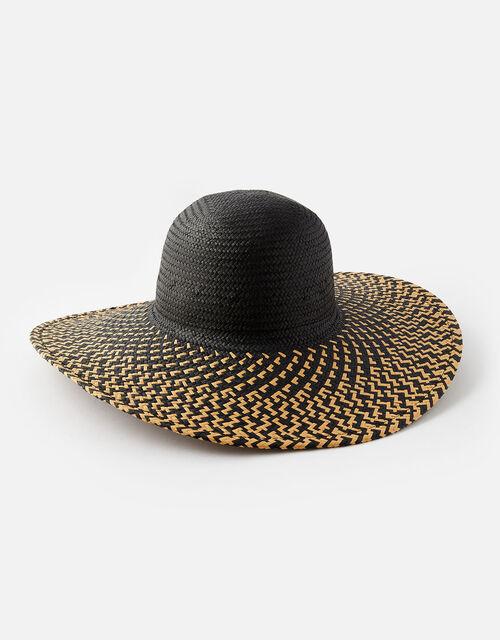Milos Floppy Hat, Black (BLACK/WHITE), large