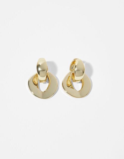 Gold-Plated Oval Charm Chunky Hoops, , large