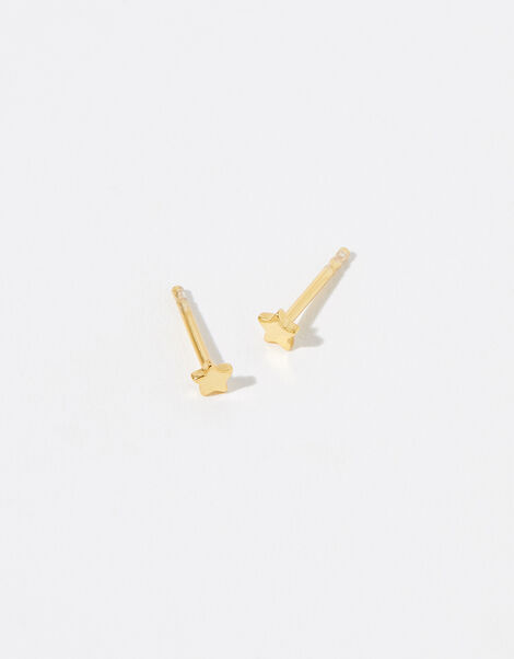 Gold Vermeil Star Stud Earrings, , large