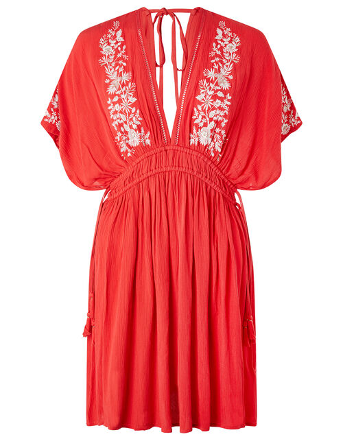 Lace Trim Embroidered Crinkle Kaftan, Red (RED), large