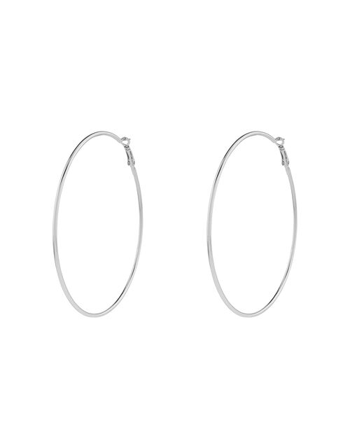 Large Simple Hoop Earrings, Silver (SILVER), large