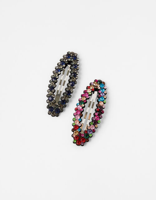 Black and Rainbow Gem Hair Clips, , large