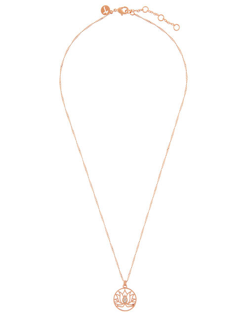 Rose Gold-Plated Lotus Flower Necklace, , large