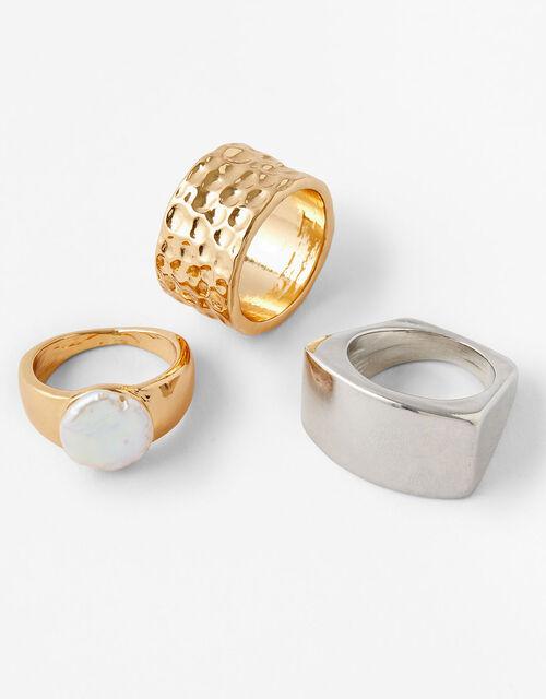 Organic Pearl Chunky Ring Set, Cream (PEARL), large