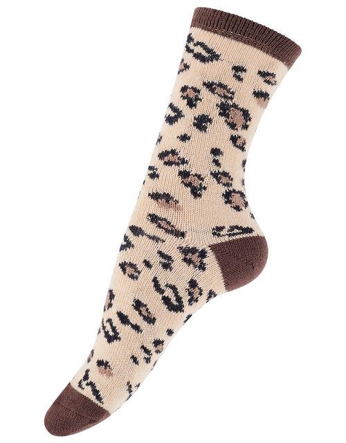 Mia Leopard Thermal Boot Socks, , large