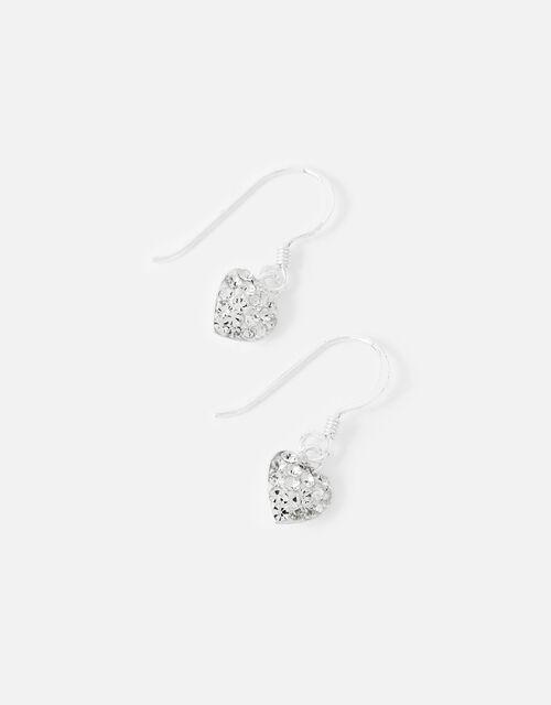 Sterling Silver Sparkle Heart Charm Earrings, , large