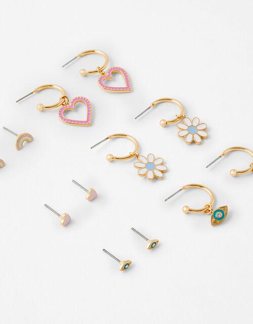 Rainbow Flower Enamel Earring Multipack, , large