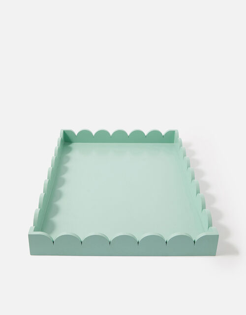 Large Natural Wood Scallop Tray, Blue (BLUE), large