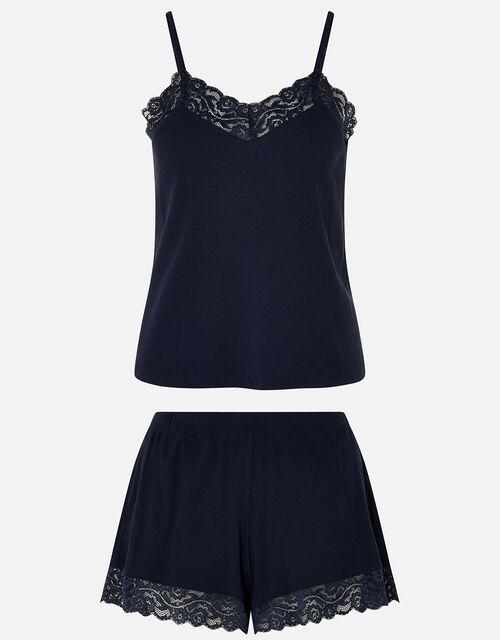 Lace Trim Rib Vest and Shorts Set, Blue (NAVY), large