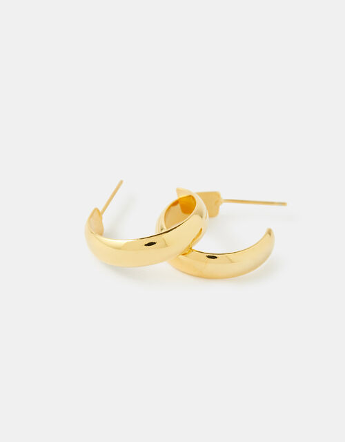 Gold-Plated Plain Chunky Hoop Earrings, , large