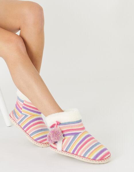 Stripe Knit Slipper Boots Multi, Multi (BRIGHTS-MULTI), large