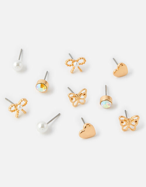 Heart and Butterfly Stud Earring Set, , large