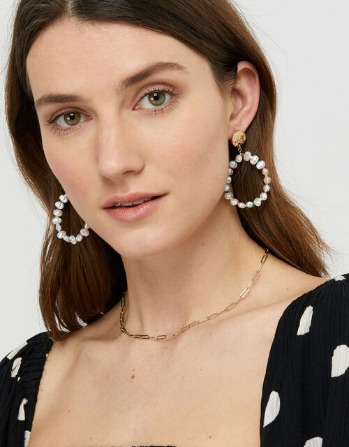 Pearl and Bright Bead Clip-On Doorknocker Earrings, , large