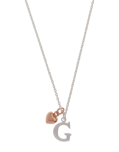 Sterling Silver Initial Necklace with Heart Charm - G, , large