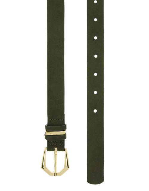 Slim Gold Buckle Belt, Green (KHAKI), large