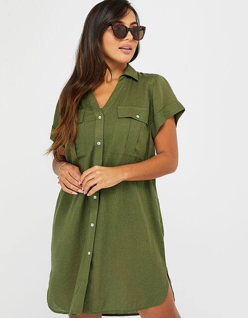Beach Shirt Dress in LENZING™ ECOVERO™, Green (KHAKI), large