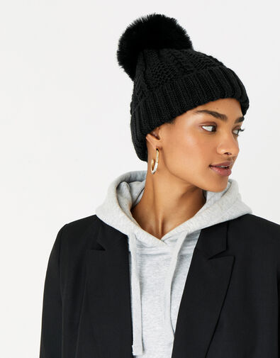 Chunky Knit Pom-Pom Beanie, Black (BLACK), large