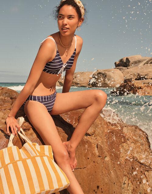 Striped Lace-Up Bikini Top, Blue (NAVY), large