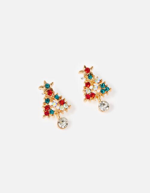 Christmas Tree Drop Stud Earrings, , large