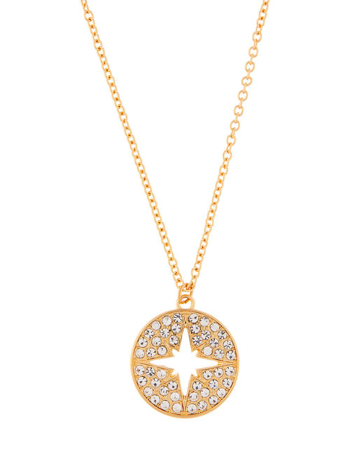 Sparkle Star Disc Pendant Necklace, , large