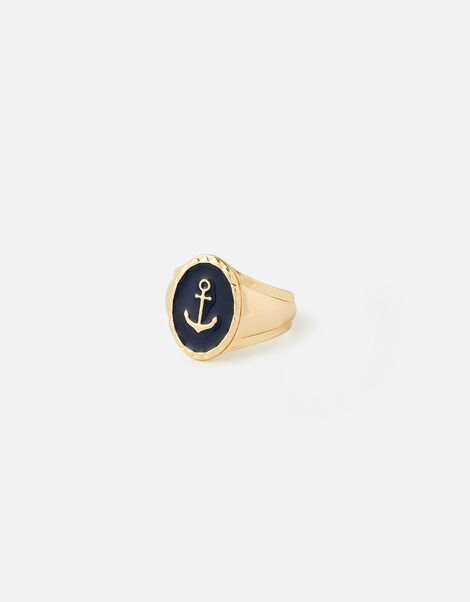 St Ives Anchor Signet Ring  Blue, Blue (BLUE), large