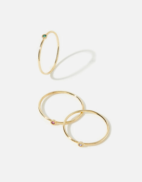 Gold-Plated Rainbow Ring Set Gold, Gold (GOLD), large
